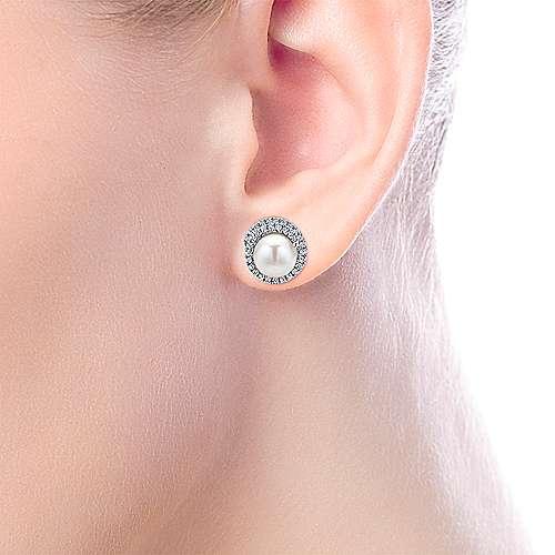 14k White Gold Diamond Pearl Stud Earrings angle 2