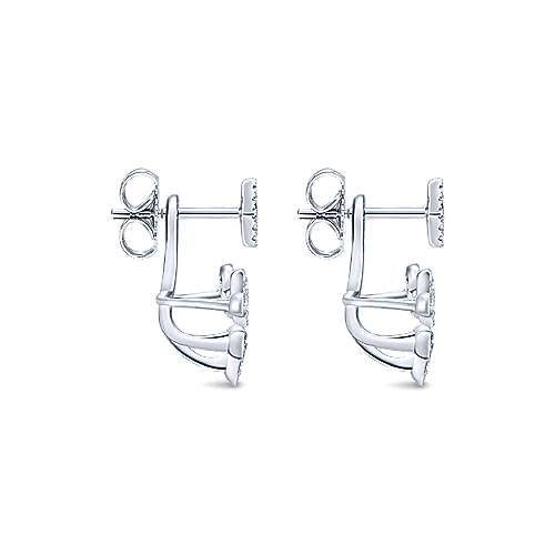 14k White Gold Diamond Peek A Boo Earrings angle 3