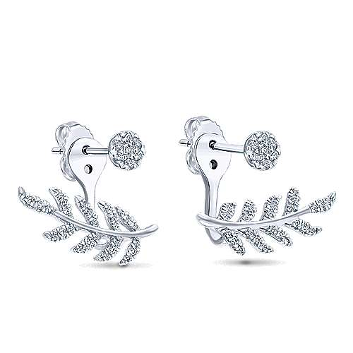 14k White Gold Diamond Peek A Boo Earrings angle 2