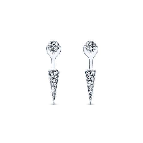 14k White Gold Diamond Peek A Boo Earrings angle 1