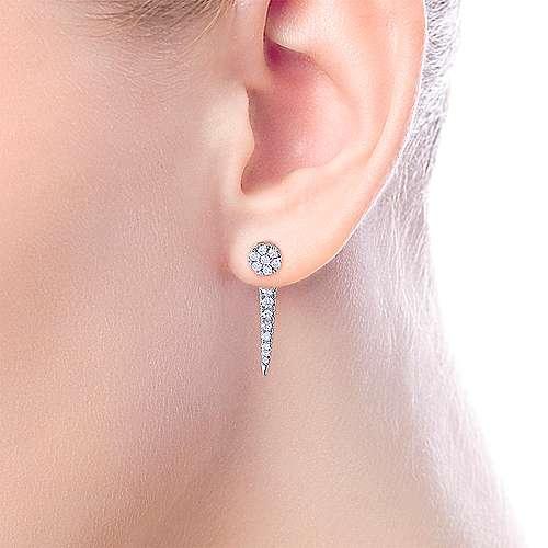 14k White Gold Diamond Peek A Boo Earrings angle 4