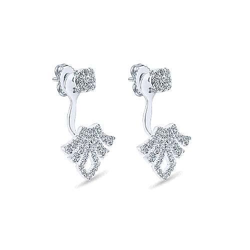 14k White Gold Diamond Peek A Boo Earrings angle 2
