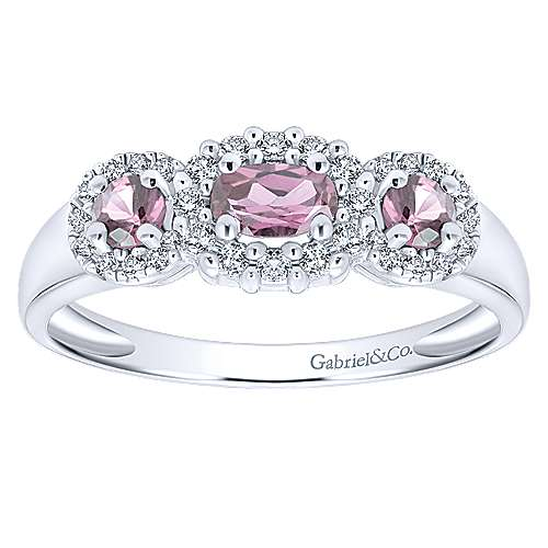 14k White Gold Diamond Pink Sapphire Fashion Ladies