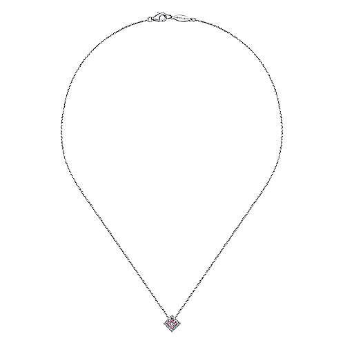 14k White Gold Diamond Pink Sapphire Fashion Necklace angle 2