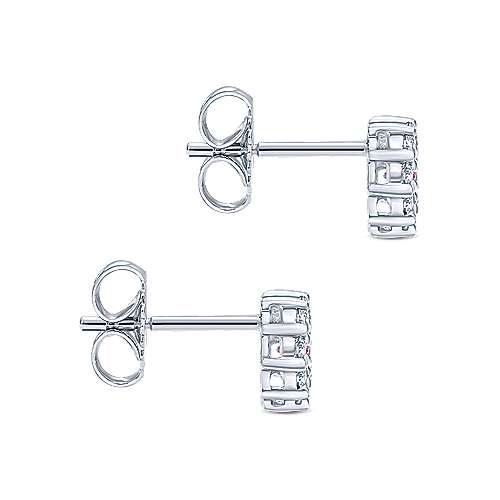 14k White Gold Diamond Pink Sapphire Stud Earrings angle 3