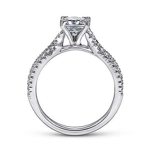 14k White Gold Diamond Princess Cut Criss Cross Engagement Ring angle 2