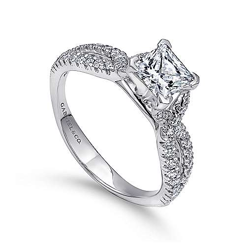 14k White Gold Diamond Princess Cut Criss Cross Engagement Ring angle 3