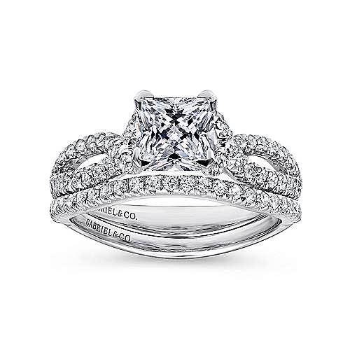 14k White Gold Diamond Princess Cut Criss Cross Engagement Ring angle 4