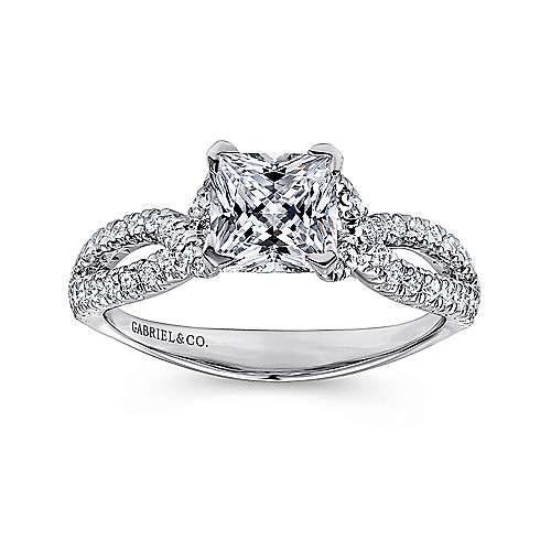 14k White Gold Diamond Princess Cut Criss Cross Engagement Ring angle 5