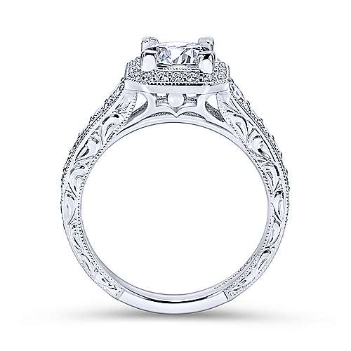 14k White Gold Diamond Princess Cut Halo Engagement Ring with Channel Setting  angle 2