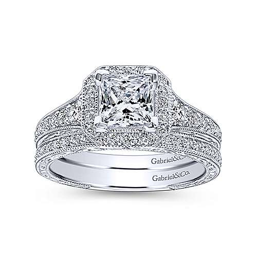 14k White Gold Diamond Princess Cut Halo Engagement Ring with Channel Setting  angle 4
