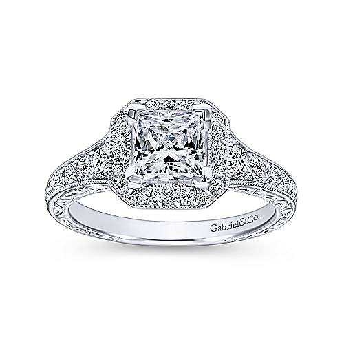 14k White Gold Diamond Princess Cut Halo Engagement Ring with Channel Setting  angle 5