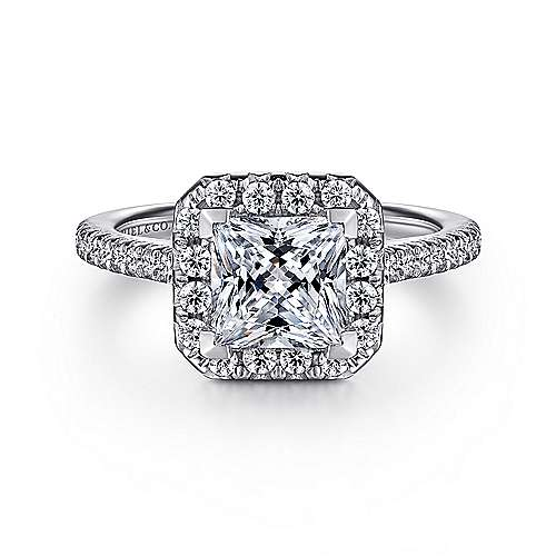 14k White Gold Diamond Princess Cut Halo Engagement Ring with French Pave Shank angle 1