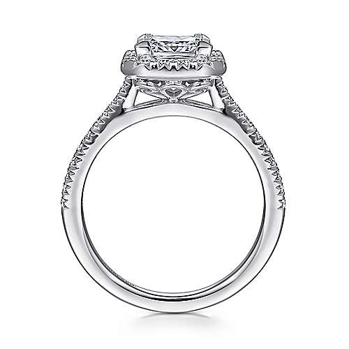 14k White Gold Diamond Princess Cut Halo Engagement Ring with French Pave Shank angle 2