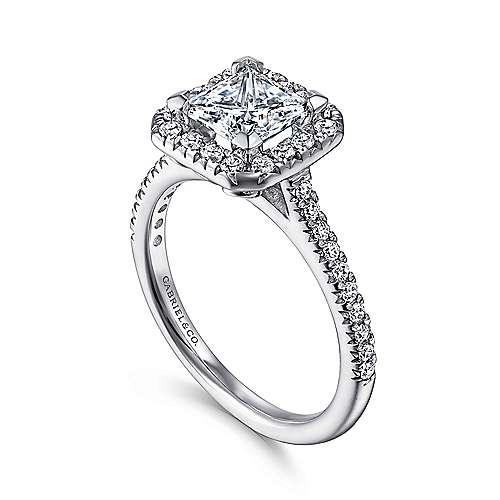 14k White Gold Diamond Princess Cut Halo Engagement Ring with French Pave Shank angle 3