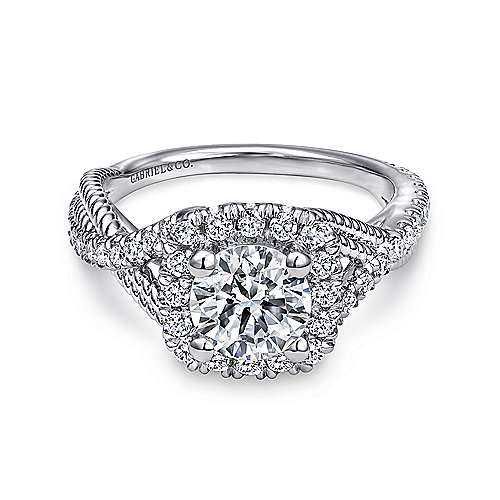 14k White Gold Diamond Riata and Pave Twist Halo Engagement Ring angle 1