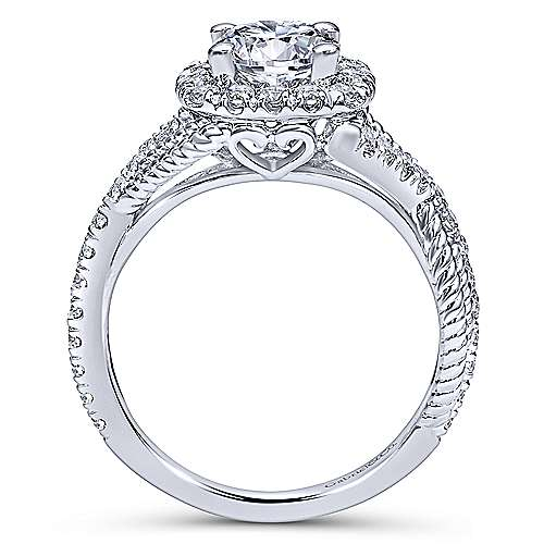 14k White Gold Diamond Riata and Pave Twist Halo Engagement Ring angle 2