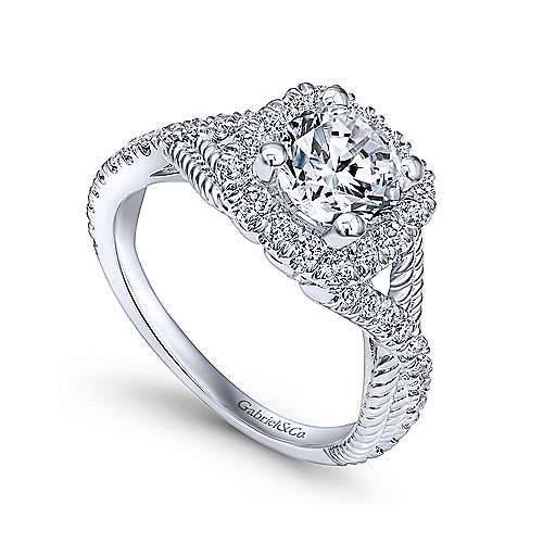 14k White Gold Diamond Riata and Pave Twist Halo Engagement Ring angle 3