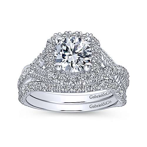 14k White Gold Diamond Riata and Pave Twist Halo Engagement Ring angle 4