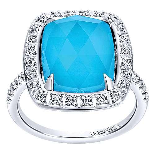 14k White Gold Diamond Rock Crystal&turquoise Fashion Ladies