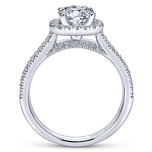 14k White Gold Diamond Round Halo Engagement Ring with Double Pave Shank angle 2