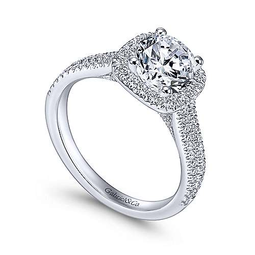 14k White Gold Diamond Round Halo Engagement Ring with Double Pave Shank angle 3