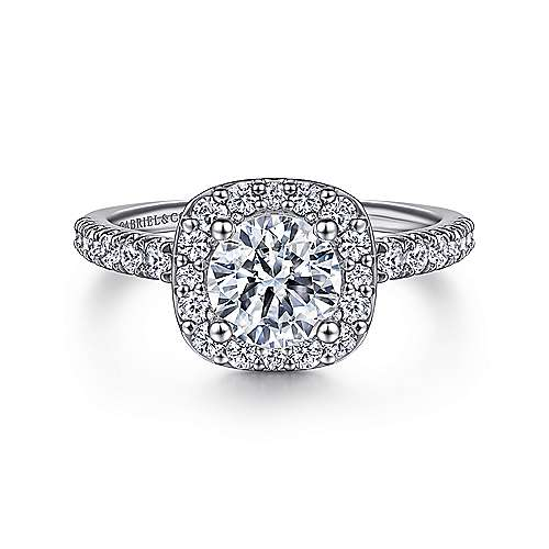 14k White Gold Diamond Round Halo  with Pave Shank