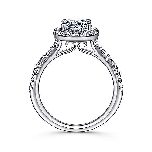 14k White Gold Diamond Round Halo Engagement Ring with Pave Shank angle 2