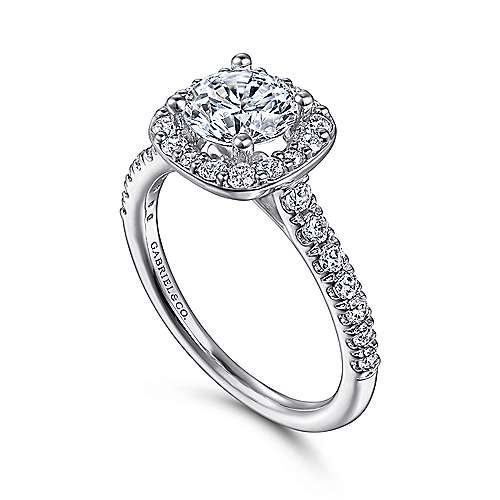 14k White Gold Diamond Round Halo Engagement Ring with Pave Shank angle 3