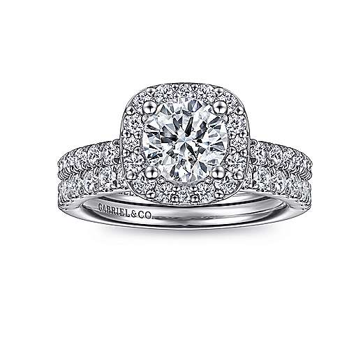 14k White Gold Diamond Round Halo Engagement Ring with Pave Shank angle 4