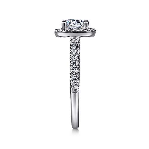14k White Gold Diamond Round Halo Engagement Ring with Pave Shank angle 5