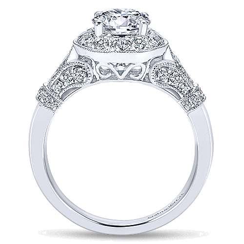 14k White Gold Diamond Round Halo Filgree Engagement Ring angle 2