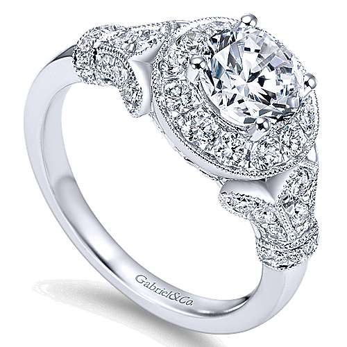 14k White Gold Diamond Round Halo Filgree Engagement Ring angle 3