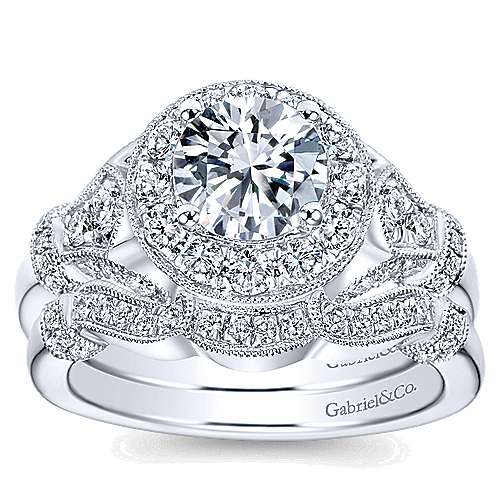 14k White Gold Diamond Round Halo Filgree Engagement Ring angle 4