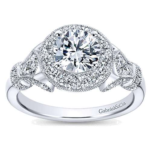 14k White Gold Diamond Round Halo Filgree Engagement Ring angle 5