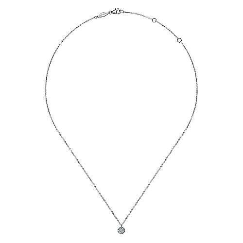 14k White Gold Diamond Round Pavé Pendant Fashion Necklace angle 2