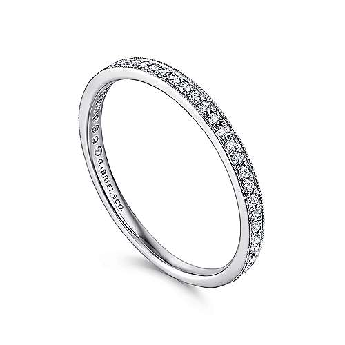 14k White Gold Diamond Shared Prong Stackable Ladies Ring angle 3