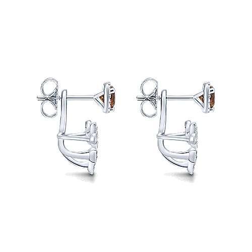 14k White Gold Diamond Smoky Quartz Peek A Boo Earrings angle 3