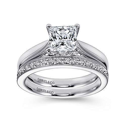 14k White Gold Diamond Solitaire Engagement Ring angle 4