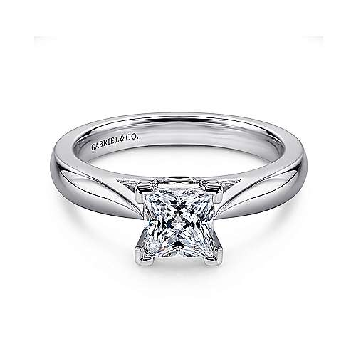 14k White Gold Diamond Solitaire Engagement Ring angle 1
