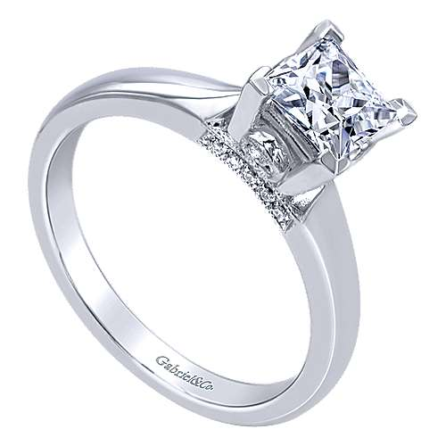 14k White Gold Diamond Solitaire Engagement Ring angle 3