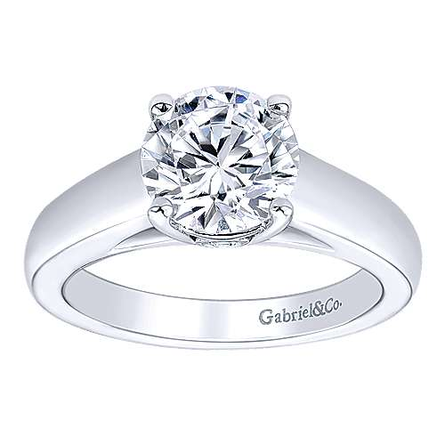 14k White Gold Diamond Solitaire Engagement Ring angle 5