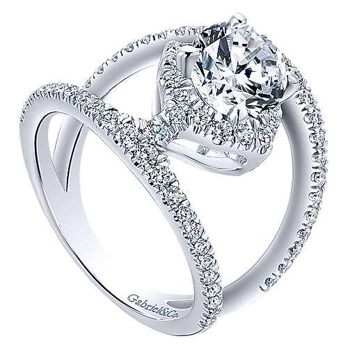 14k White Gold Diamond Split Shank Engagement Ring angle 3