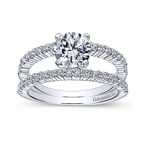 14k White Gold Diamond Split Shank Engagement Ring angle 5