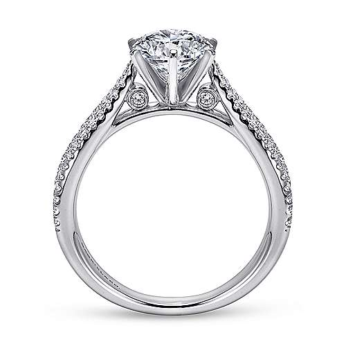 14k White Gold Diamond Split Shank Engagement Ring angle 2