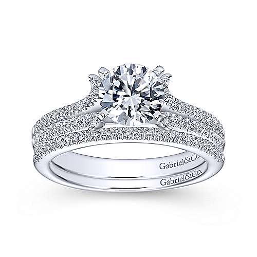 14k White Gold Diamond Split Shank Engagement Ring angle 4