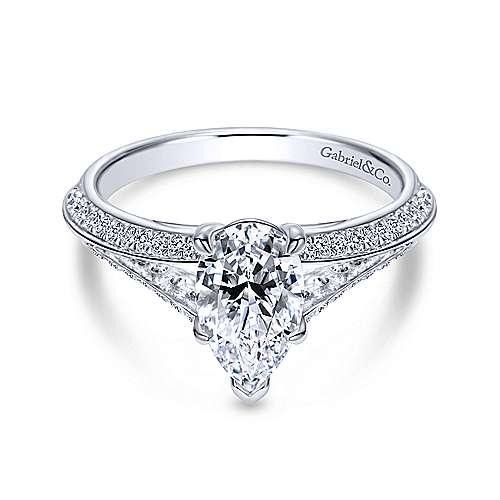 Gabriel - 14k White Gold Pear Shape Split Shank Engagement Ring
