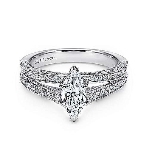 Gabriel - 14k White Gold Marquise  Split Shank Engagement Ring