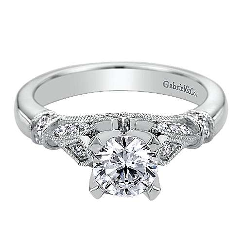 14k White Gold Diamond Split Shank Engagement Ring angle 1