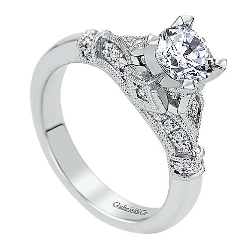14k White Gold Diamond Split Shank Engagement Ring angle 3